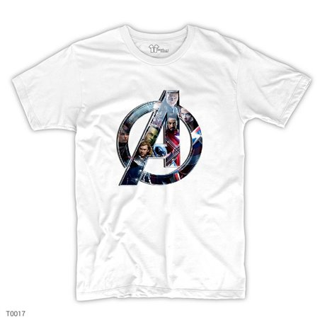 Avengers Logo Heroes in Post T-Shirt | Beyaz